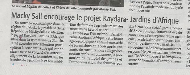 """Parution d'un article sur Kaydara le 22/07/15 dans le quotidien dakarois : """"Le Soleil""""."""